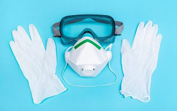 Safety equipment or Protective suit to fight to Coronavirus COVID-19 virus outbreak. Safety mask, protective gloves and glasses